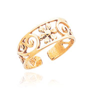 14K Gold Floral Toe Ring