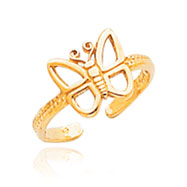 14K Gold Butterfly Toe Ring