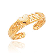 14K Gold Heart Toe Ring