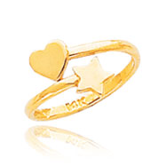 14K Gold Heart & Star Toe Ring