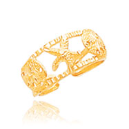 14K Gold Starfish Toe Ring