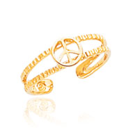 14K Gold Peace Sign Toe Ring