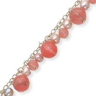 Sterling Silver Cherry Quartz, Freshwater Cultured Pink Pearl Bracelet