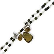 Sterling Silver Dark Green Jade And Olivine Crystal Bracelet
