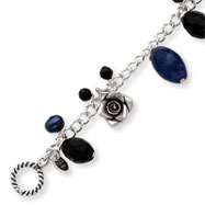 Sterling Silver Sodalite, Blue Goldstone, Black Crystal, Cultured  Pearl Bracelet