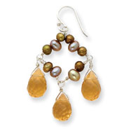 Sterling Silver Freshwater Cultured Gold Pearl, Citrine, Light Yellow Quartz Earrings