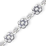 Sterling Silver Flower Charm Bracelet