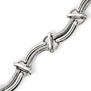 Sterling Silver Antiqued Fancy Link Bracelet