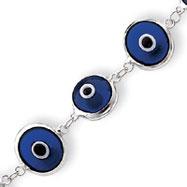 Sterling Silver 3-Dimensional Transparent Cobalt Blue Eye Bracelet