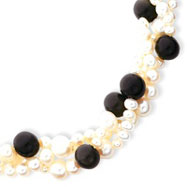Sterling Silver Freshwater Pearl & Obsidian Bead Necklace