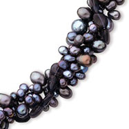 Sterling Silver Freshwater Black Pearl & Amethyst Quartz Necklace