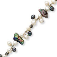 Sterling Silver Peacock, White Freshwater Cultured Pearl Bracelet