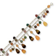 Sterling Silver Carnelian, Jasper, Multi-Colored Tumarine Bracelet