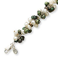 Sterling Silver Freshwater Cultured White, Green Pearl Bracelet