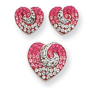 Sterling Silver Pink CZ & Crystal Heart Earrings And Pendent Set