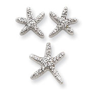 Sterling Silver CZ Starfish Earrings And Pendant Set