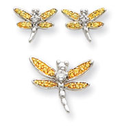 Sterling Silver Yellow CZ Dragonfly Earrings And Pendent Set