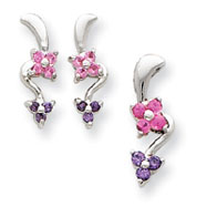 Sterling Silver Pink & Purple CZ Flower Earrings And Pendant Set