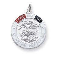 Sterling Silver St. Michael Enameled Medal