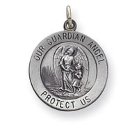 Sterling Silver Guardian Angel Medal