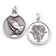 Sterling Silver Praying Hands Medal