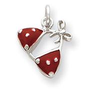 Sterling Silver Enameled Red Bikini Top Charm