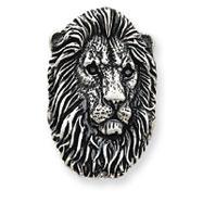 Sterling Silver Antiqued Lion Head Pendant