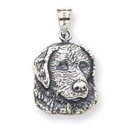 Sterling Silver Antiqued Dog Charm