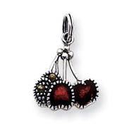 Sterling Silver Enameled Red Cherry Charm
