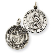 Sterling Silver Reversible US Marine Corp St.Christopher Pendants