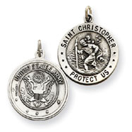 Sterling Silver Reversable US Army St.Christopher Pendant
