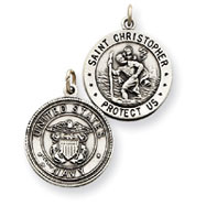 Sterling Silver Reversable US Navy St. Christopher Pendant