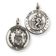 Sterling Silver Reversable US Air Force St.Christopher Pendant