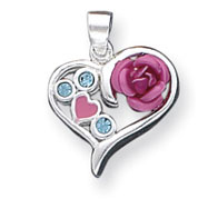 Sterling Silver Crystal And Rose Heart Pendant