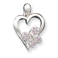 Sterling Silver Heart With Pink CZ Butterfly Pendant