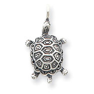 Sterling Silver Antiqued Turtle Pendant