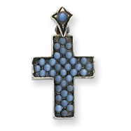 Sterling Silver Red Enameled Cross