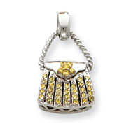 Sterling Silver Yellow CZ Purse Pendant