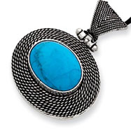 Sterling Silver Filigree And Turquoise Pendant Necklace