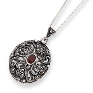 Sterling Silver Marcasite & Garnet Locket With Chain