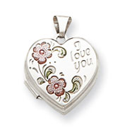 Sterling Silver Floral I Love You 18mm Heart Locket