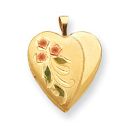 Sterling Silver With 14K Gold Filled Tri-Color Flower Heart Locket