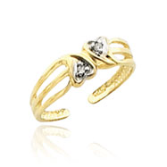 14K Gold Double Heart .02ct Diamond Toe Ring