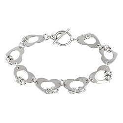 Sterling Silver Open Heart Links Bracelet
