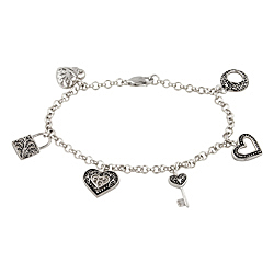 Sterling Silver Dangling Charms Bracelet