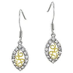 Two-Tone Sterling Silver Filigree and Pave CZ Marquise Dangle Earrings