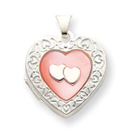 Sterling Silver Pink Mother Of Pearl Heart  Heart Locket
