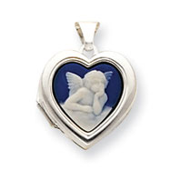 Sterling Silver Angel Cameo 18mm Heart Locket