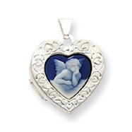 Sterling Silver Angel Cameo 21mm  Heart Locket