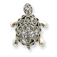 Sterling Silver Marcasite Turtle Pin